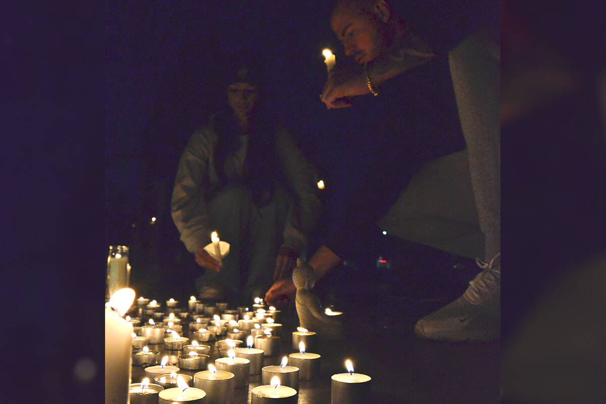 Family and friends of missing man Devon Goodrick gathered Thursday, Oct. 7, 2021, in Douglas Park for a vigil. (Heather Colpitts/Langley Advance Times)