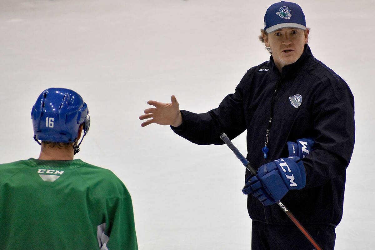 Abbotsford Canucks head coach Trent Cull leads the troops during a training camp session at Abbotsford Centre on Friday (Oct. 8). (Ben Lypka/Abbotsford News)