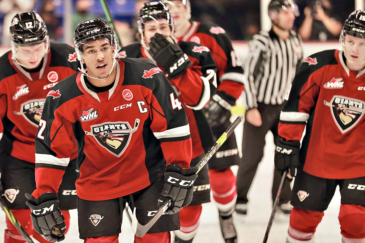 Vancouver Giants captain Justin Sourdif scored one goal and recorded two assists on Friday, Oct. 8, as the team played their first home game in 588 days, downing Prince George 6-4. (Rob Wilton/Vancouver Giants/Special to Langley Advance Times)