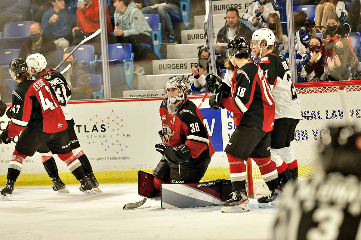Vancouver Giants netminder Jesper Vikman recorded 32 saves as the team played their first home game in 588 days on Friday, Oct. 8, downing Prince George 6-4. (Rob Wilton/Vancouver Giants/Special to Langley Advance Times)