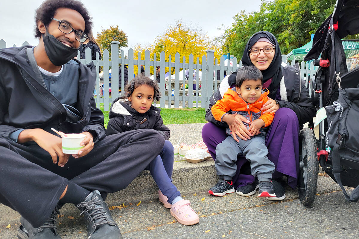 They were only planning to visit a pumpkin patch, but when a Surrey family heard about the festival, they added it tomadde a last-minute addition to their itinerary Saturday, Oct. 9. (left to right), dad Noah, daughter Sireen, son Muhammed and mom Sophia. (Dan Ferguson/Langley Advance Times)