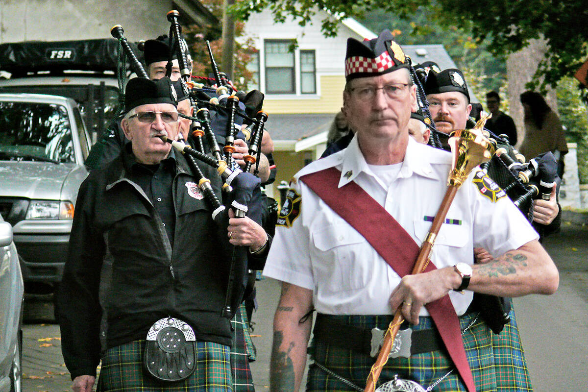Scottish pipers performed at the annual Fort Langley Cranberry Festival on Saturday, Oct. 9. (Dan Ferguson/Langley Advance Times)