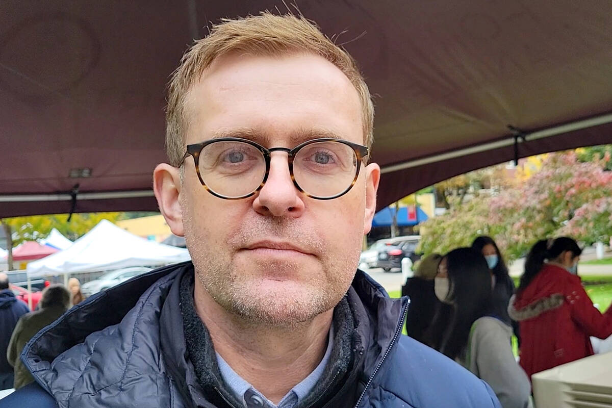 Eric Woodward described the first post-COVID Fort Langley Cranberry Festival on Saturday, Oct. 9 as a scaled-down 'hybrid' event. (Dan Ferguson/Langley Advance Times)