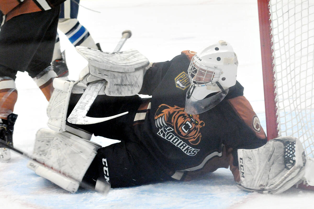 Coach Chris Price credits Kodiaks netminder Allen Gillis with keeping the Trappers at bay in the 3-1 victory over the division leading Trappers Oct. 6. (Dan Ferguson/Langley Advance Times)