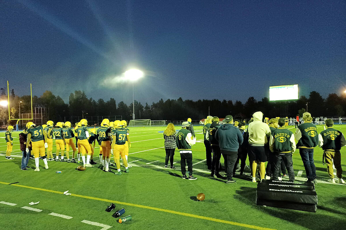 Langley Secondary School Thunderbirds rewarded a hometown audience with a 46-0 win over Argyle Secondary on Friday, Oct. 8. at McLeod stadium. (Thunderbirds Twitter feed)