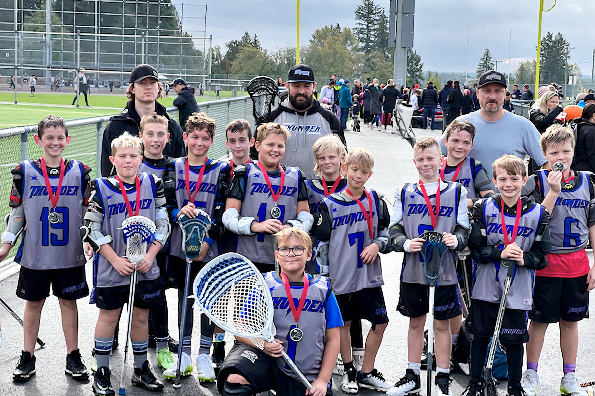 Langley Thunder U11 Tier One lacrosse players won silver at the 2021 Burrards West Coast Shootout Youth Field Lacrosse in Maple Ridge Sept. 30 to Oct. 3. (Special to Langley Advance Times)