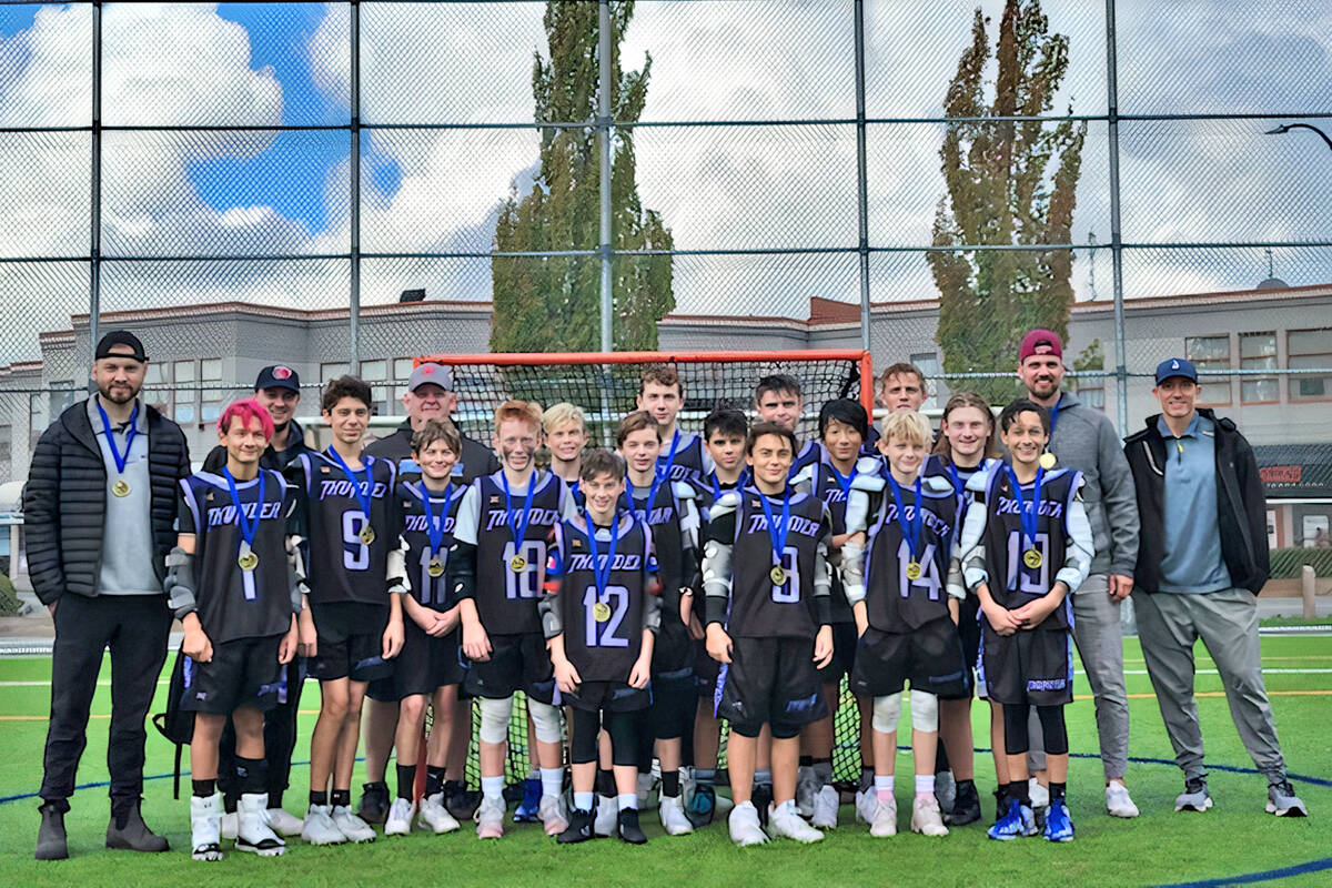 Langley Thunder U13 Tier One lacrosse players won gold at the 2021 Burrards West Coast Shootout Youth Field Lacrosse in Maple Ridge Sept. 30 to Oct. 3. (Special to Langley Advance Times)