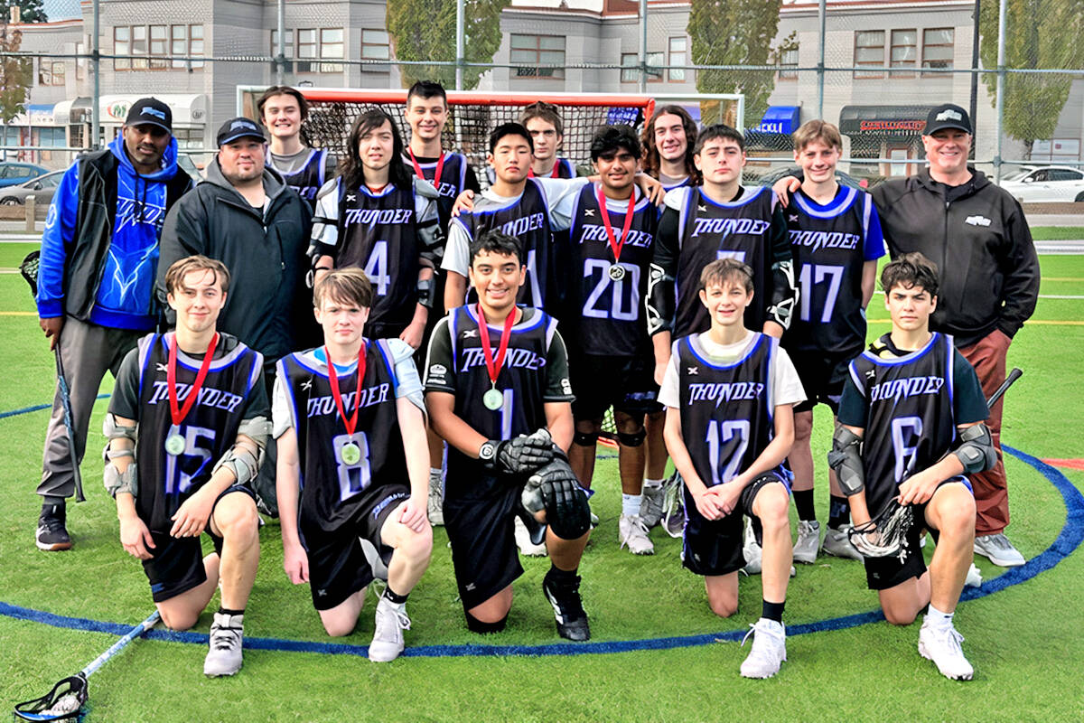 Langley Thunder U15 Tier One lacrosse players won silver at the 2021 Burrards West Coast Shootout Youth Field Lacrosse in Maple Ridge Sept. 30 to Oct. 3. (Special to Langley Advance Times)