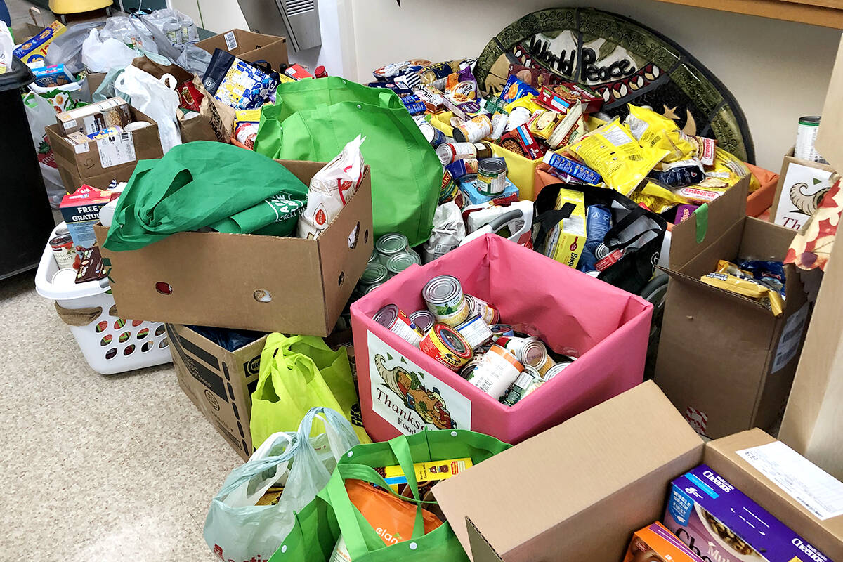 A roomful of food items collected by students at Coghlan Elementary School was delivered to the Aldergrove Food on Oct. 5. (Special to Langley Advance Times)