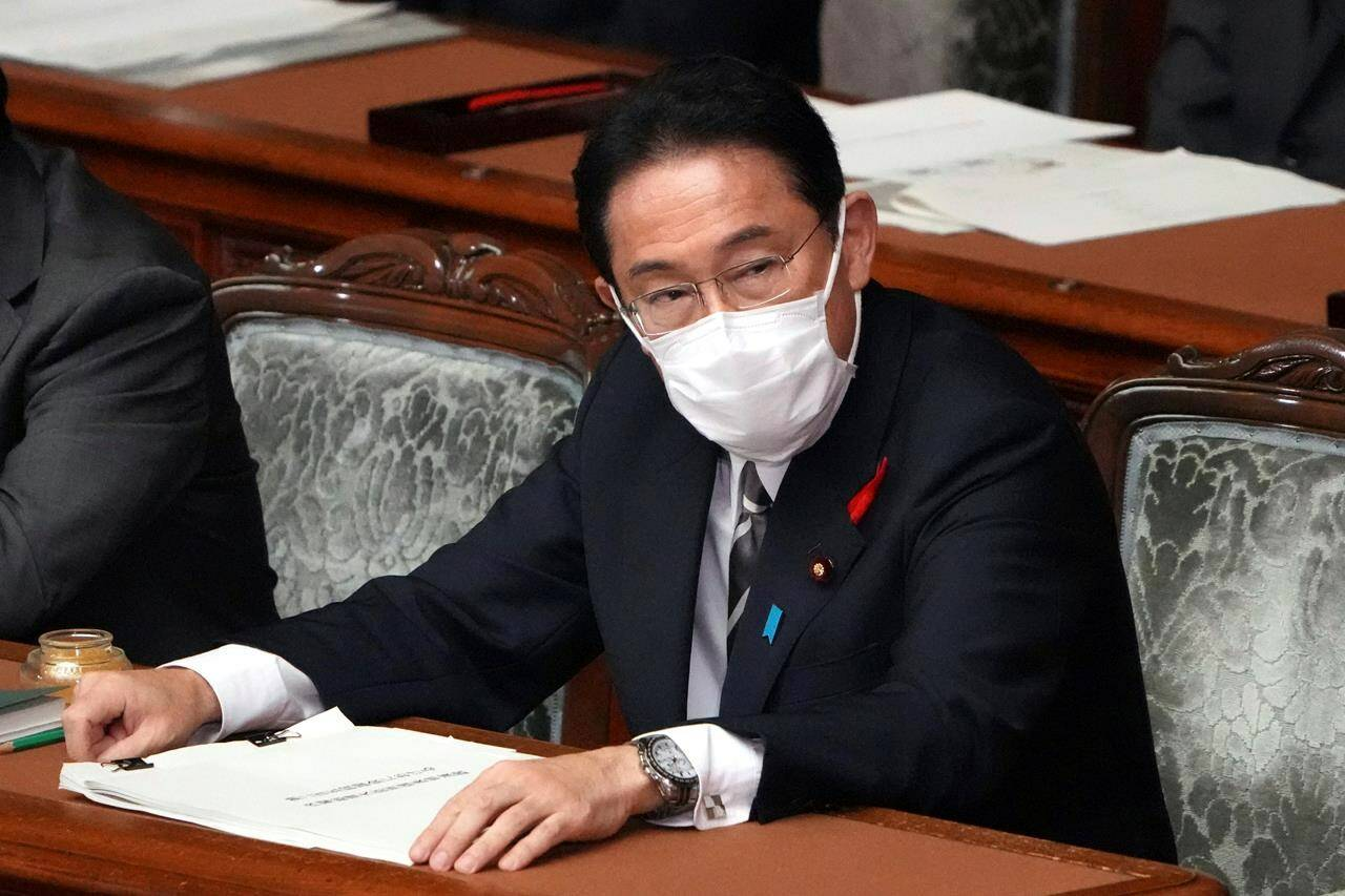 Japanese Prime Minister Fumio Kishida prepares to deliver his first policy speech during an extraordinary Diet session at the lower house of parliament Friday, Oct. 8, 2021, in Tokyo. THE CANADIAN PRESS/AP-Eugene Hoshiko
