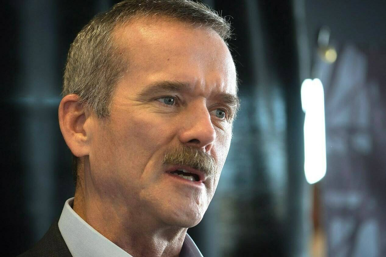 Retired astronaut Col. Chris Hadfield talks about his own extraordinary stories of leadership as one of the keynote speakers at the Greatness in Leadership business management event in Lethbridge, Alberta on Tuesday, Feb. 23, 2016. THE CANADIAN PRESS/David Rossiter