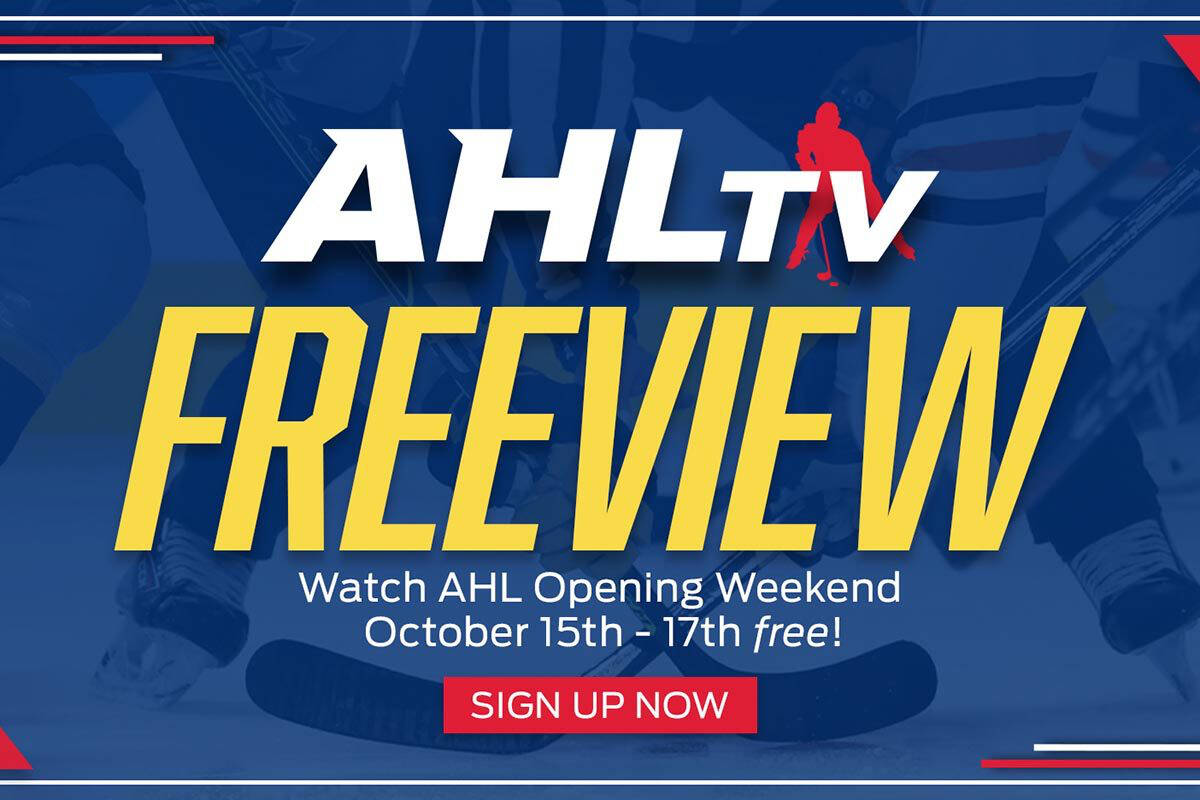 The American Hockey League is offering a 'freeview' weekend from Oct. 15 to 17, which includes the first two away games for the Abbotsford Canucks. (AHL photo)