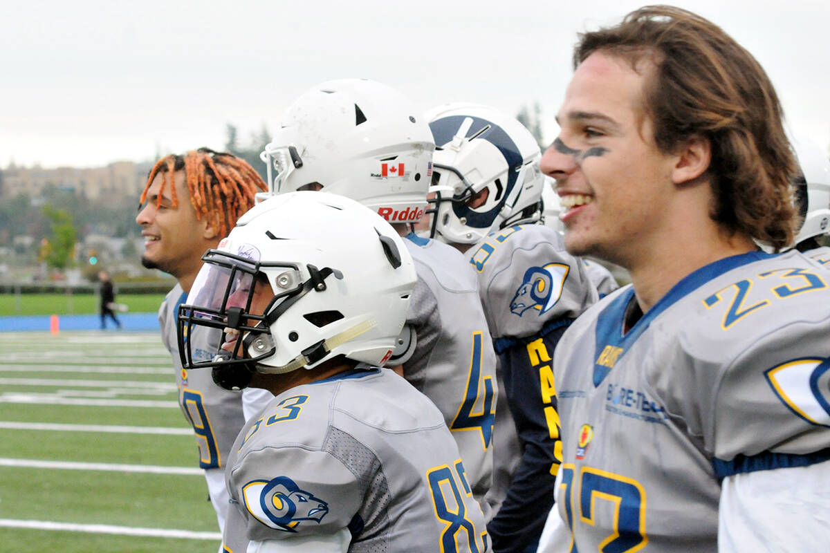 Langley Rams celebrated their fifth win a row Saturday, Oct. 9 at McLeod stadium. (Langley Advance Times file)
