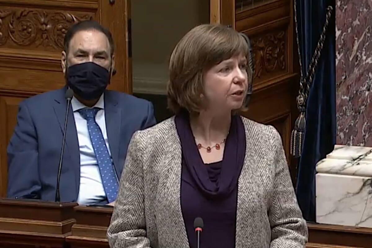 Mental Health and Addictions Minister Sheila Malcolmson speaks in the B.C. legislature, March 2021. (Hansard TV)