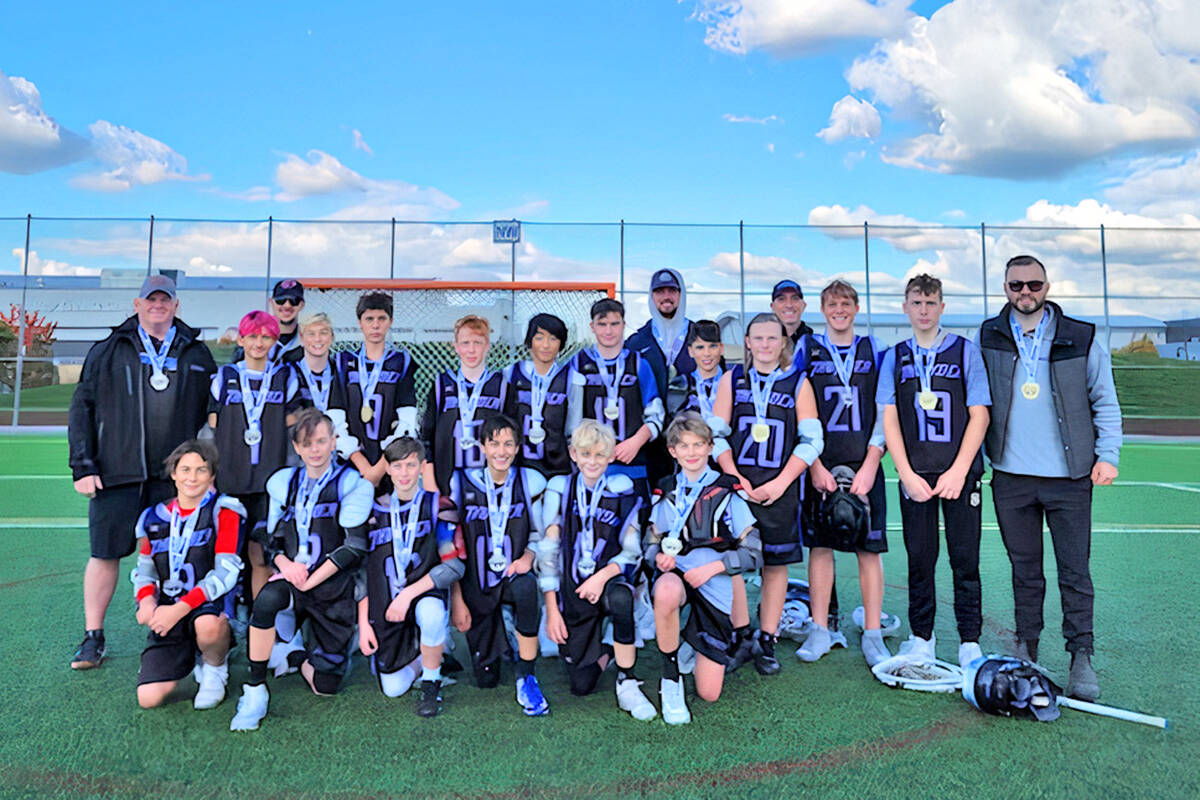 Langley's U13 Tier 1 won gold, again, this time at the Thunderstrike tournament, hosted by Langley Minor Lacrosse Association Oct 8-11 at Willoughby Community Park. (Special to Langley Advance Times)