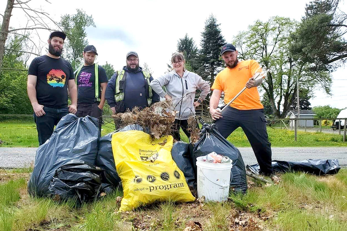 Jocelyn Titus, founder of Earth Ninjas and Cleaning Up Aldergrove, leads a group of volunteers on garbage picks. (Special to The Star)