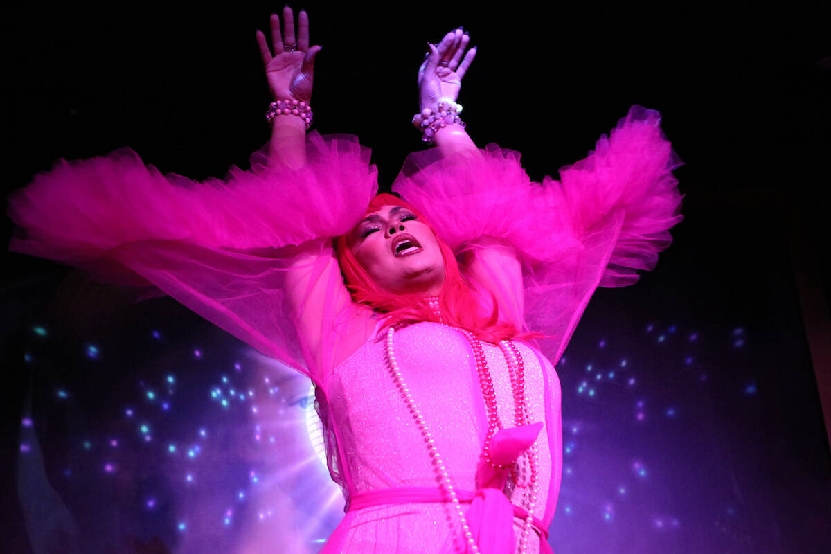 Kelowna drag queen Ella Lamoureux performs during a show at the Friends of Dorothy Lounge on Oct. 1. (Aaron Hemens - Capital News)
