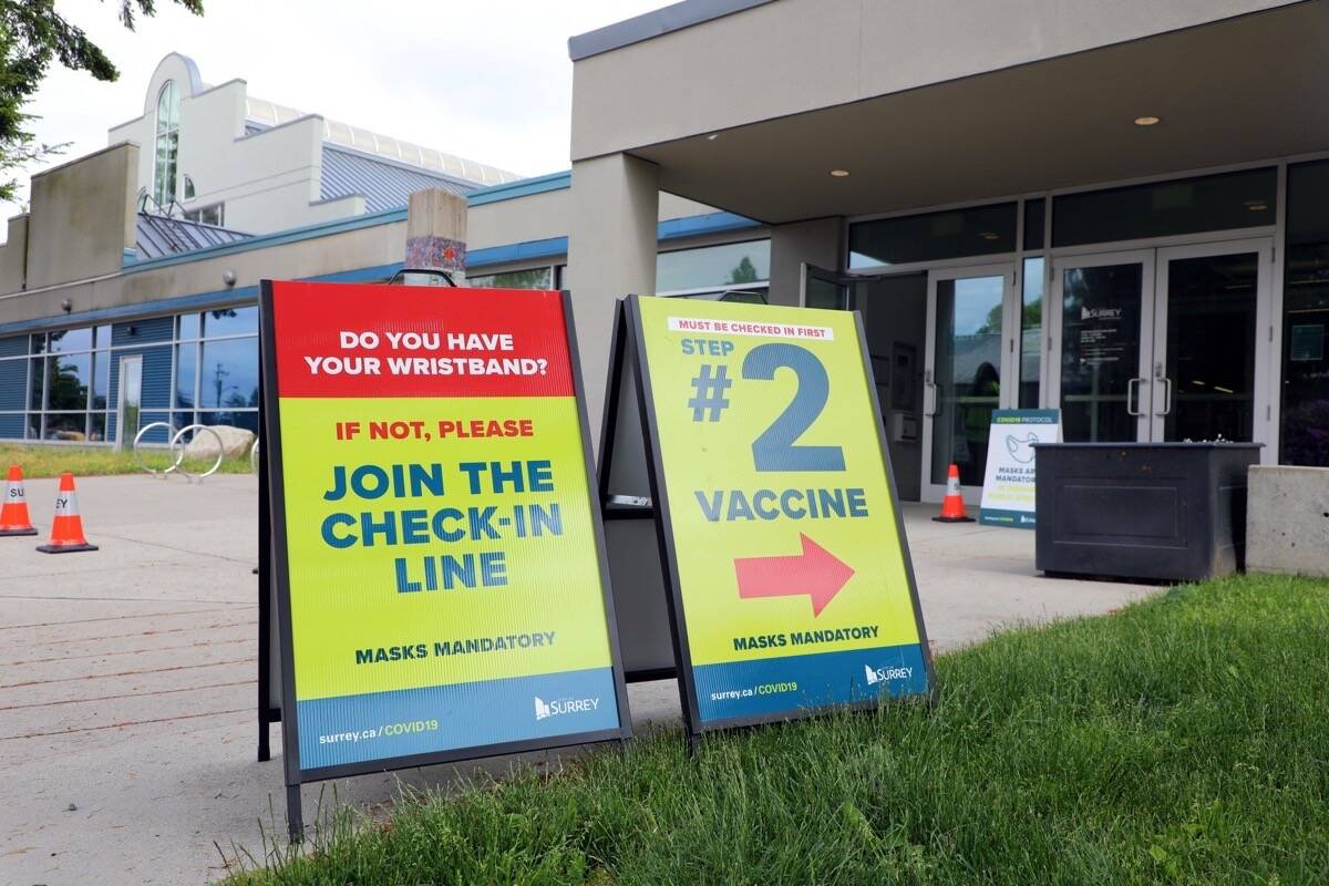 Fraser Health hosts same-day vaccine clinic at Newton Recreation Centre in Surrey, June 1, 2021. (Photo: City of Surrey)