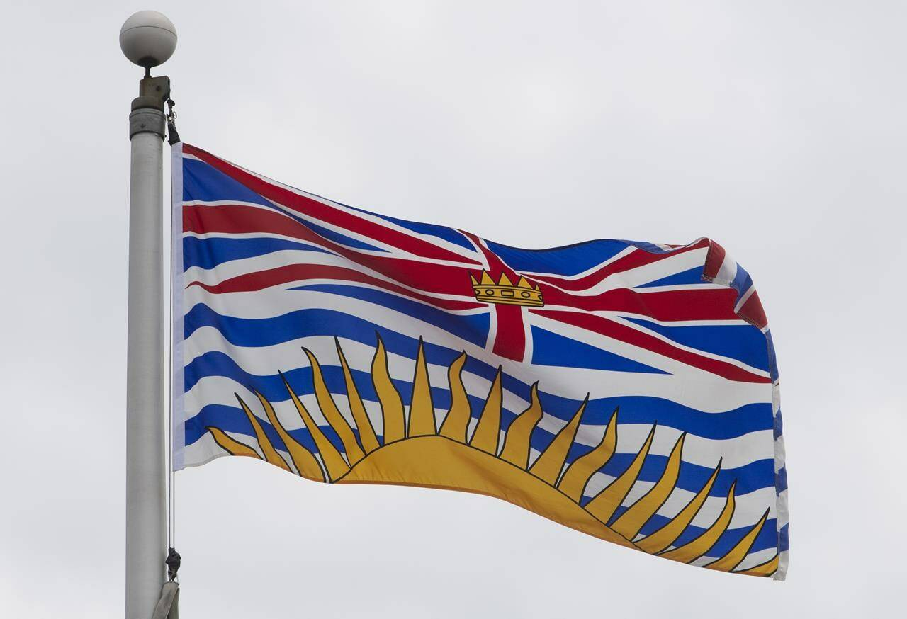 British Columbia's provincial flag flies on a flagpole in Ottawa, Friday July 3, 2020. THE CANADIAN PRESS/Adrian Wyld