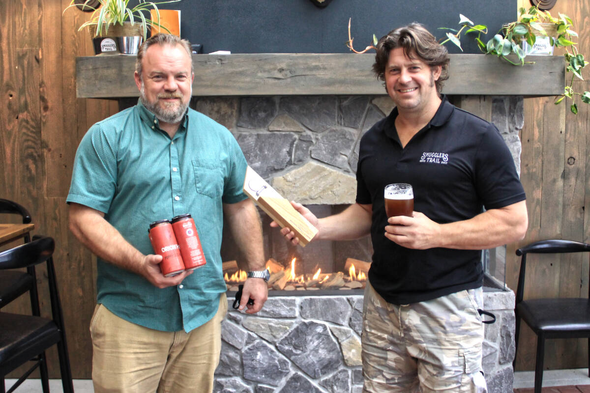 Brewery owners Stephen Gregorig (left) and Jamie Overgaard recently won a silver-medal for their English-style IPA Orion 1-1. Their taproom, Smugglers Trail Caskworks, opened in Port Kells one year ago. (Photo: Malin Jordan)