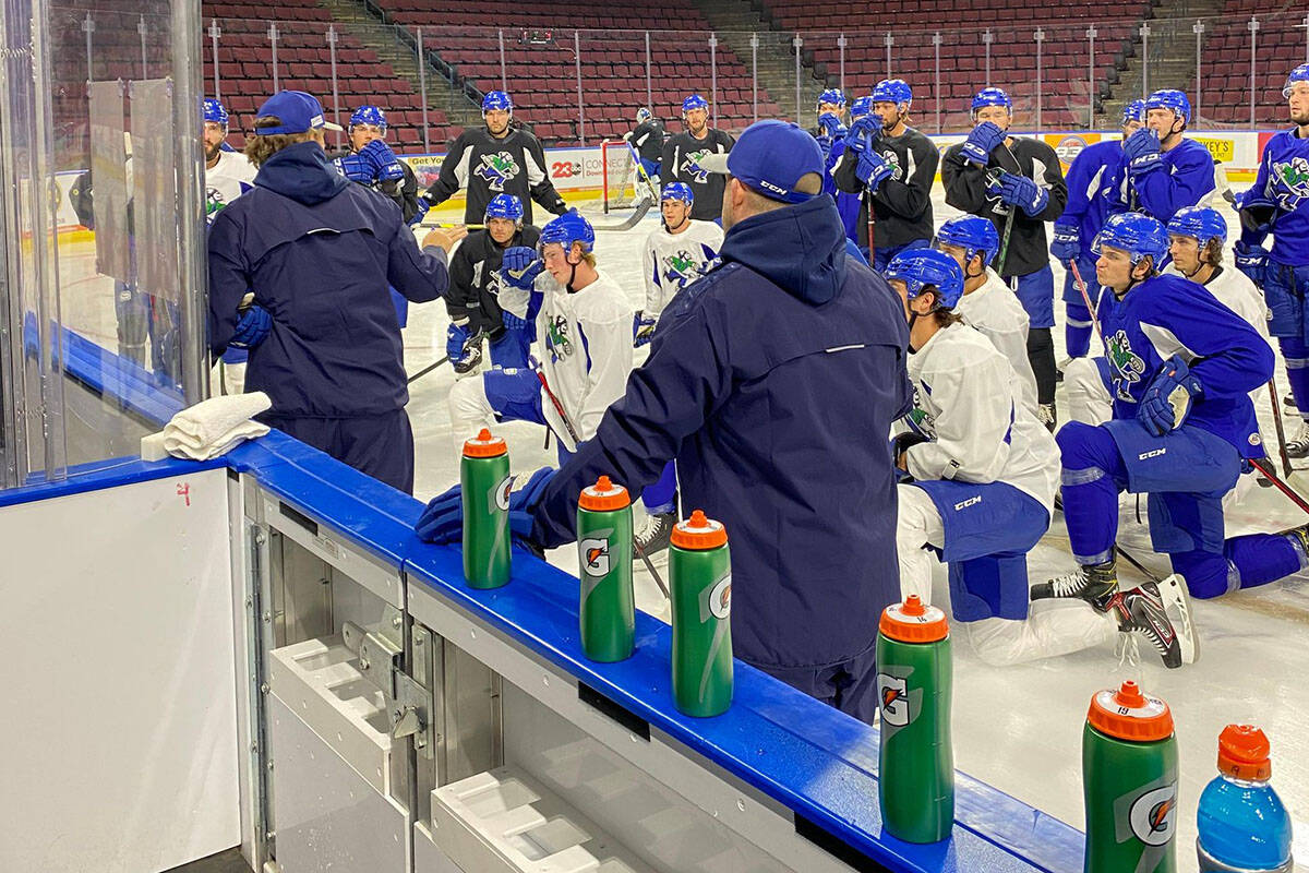 The Abbotsford Canucks, shown here practicing, debut tonight in California against the Bakersfield Condors. (Abbotsford Canucks photo)