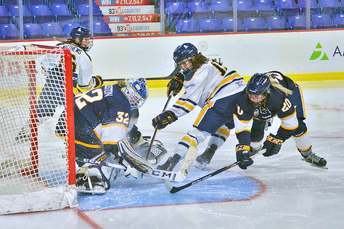 Ashlee Wolfe scored the first U SPORTS goal for TWU Spartans Friday, Oct. 15, against UBC at the Langley Events Centre. (Gary Ahuja, LEC/Special to Langley Advance Times)