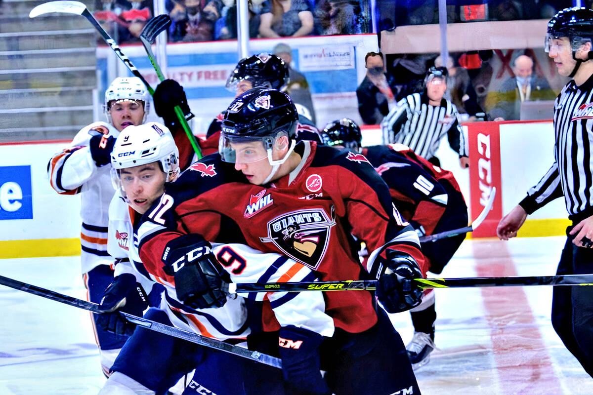 Visiting Kamloops Blazers scored a decisive victory over the Vancouver Giants at Langley Events Centre on Saturday, Oct. 16. (Gary Ahuja, Langley Events Centre/Special to Langley Advance Times)