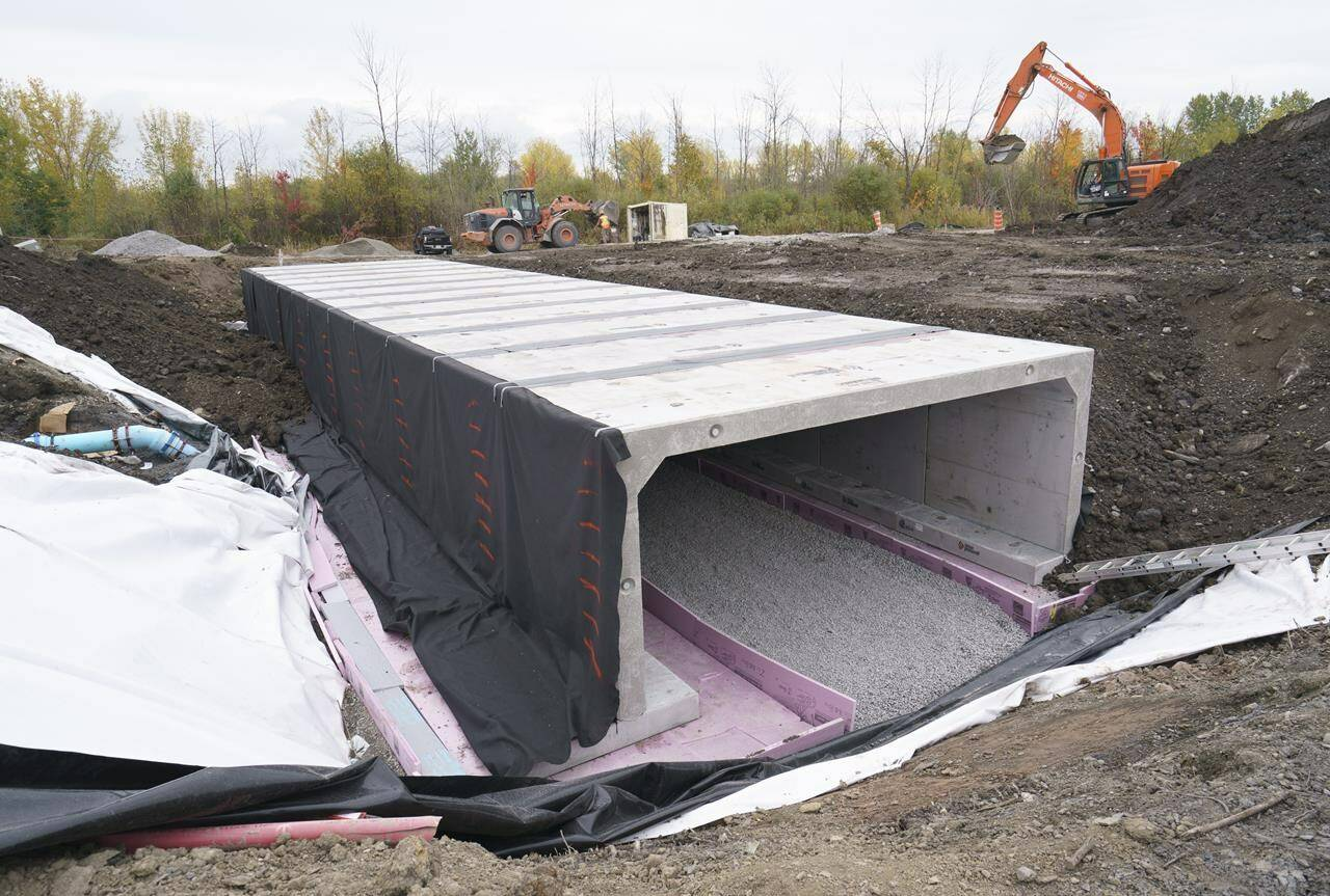 A wildlife corridor to help preserve the western chorus frog is seen under construction in Longueuil, Que. on Friday, October 15, 2021. THE CANADIAN PRESS/Paul Chiasson