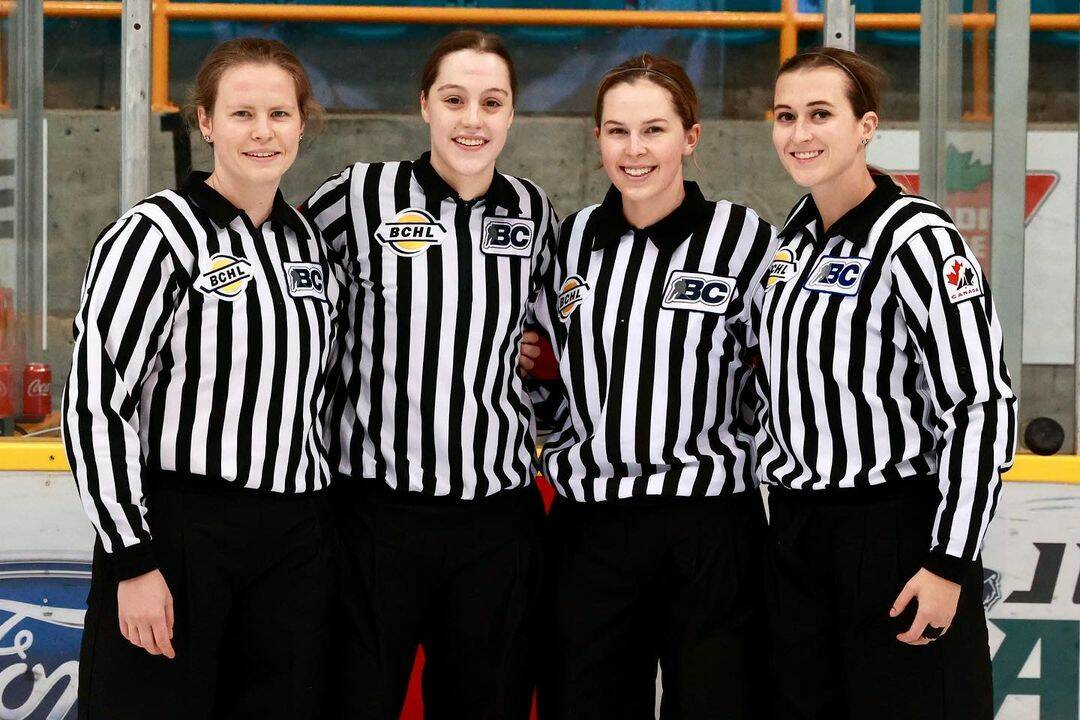Four BCHL officials (left to right: Colleen Geddes, Megan Howes, Grace Barlow and Melissa Brunn) made Canadian junior 'A' hockey history Sunday at South Surrey Arena when they became the first all-female officiating crew to work a junior 'A' hockey game. (Garrett James photo)