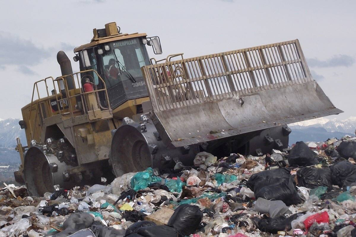 A compactor works at the Vancouver landfill in Delta. (City of Vancouver)