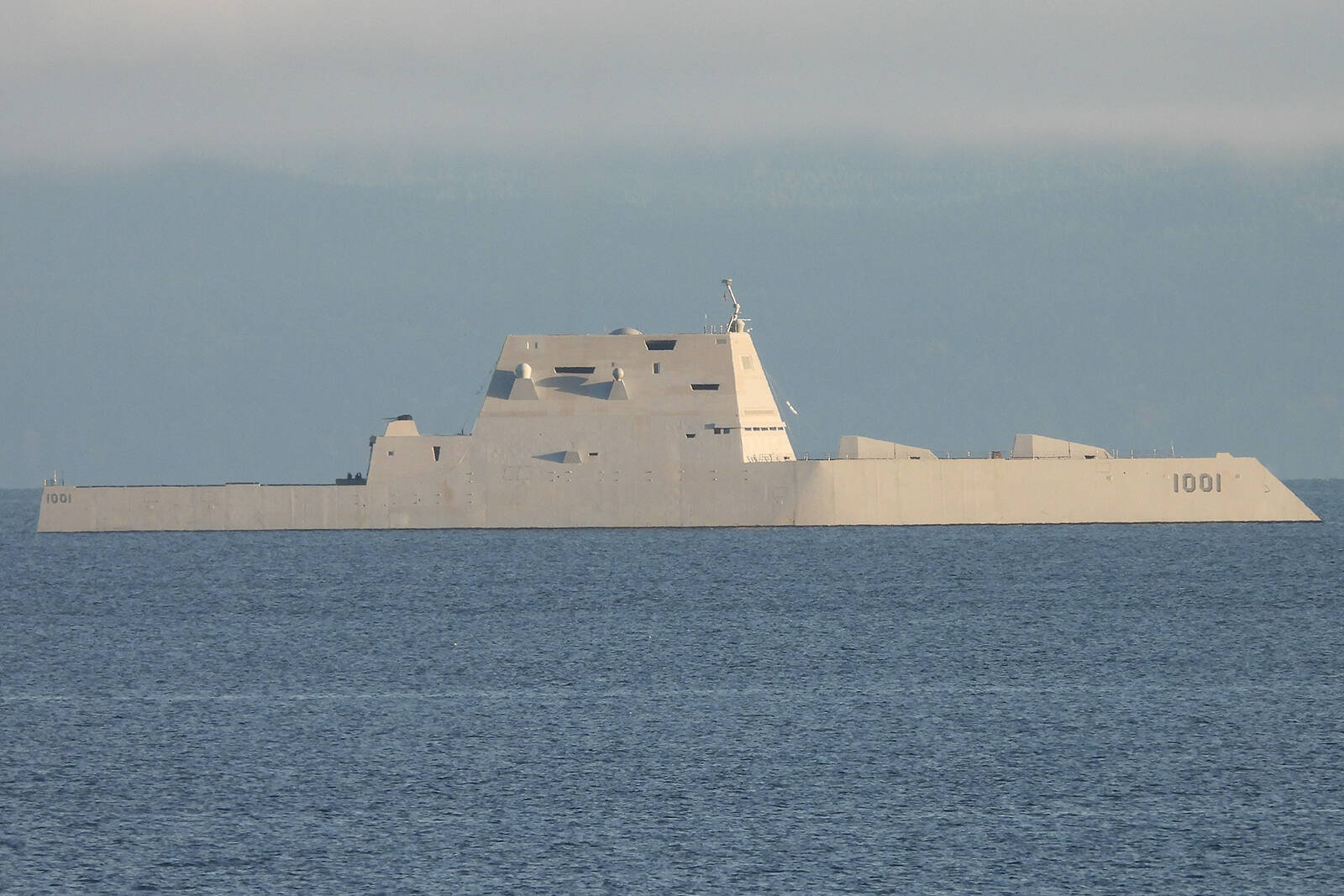 The Zumwalt-class destroyer USS Michael Monsoor was spotted sailing the waters in the Strait of Georgia near Nanaimo on Monday, Oct. 18. (Photo courtesy Tami Mullaly)
