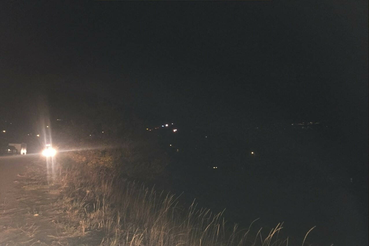 Back up of traffic along Highway 97 following crash (Dave Ogilvie photo)