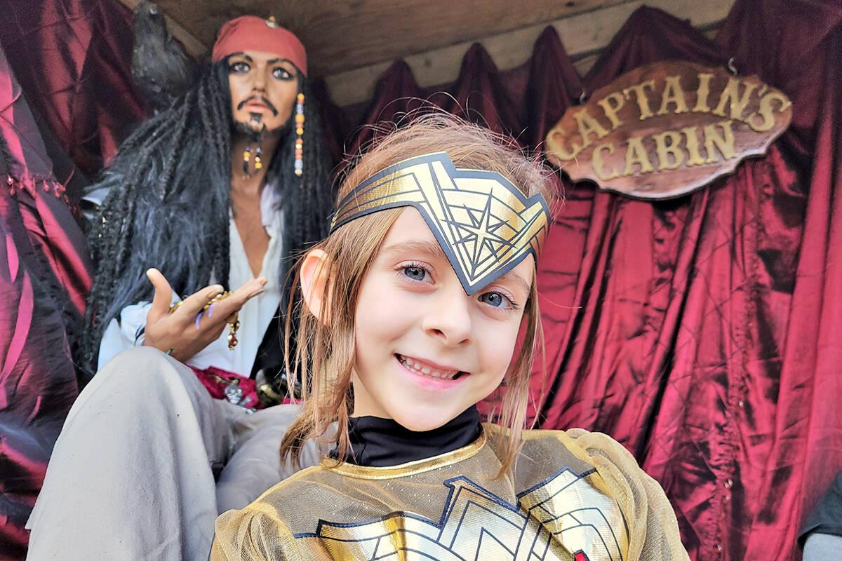 'Halloween baby' Maya McGladdery, posed with Jack Sparrow at the Brinkworth Dungeon in Murrayville. (Dan Ferguson/Langley Advance Times)