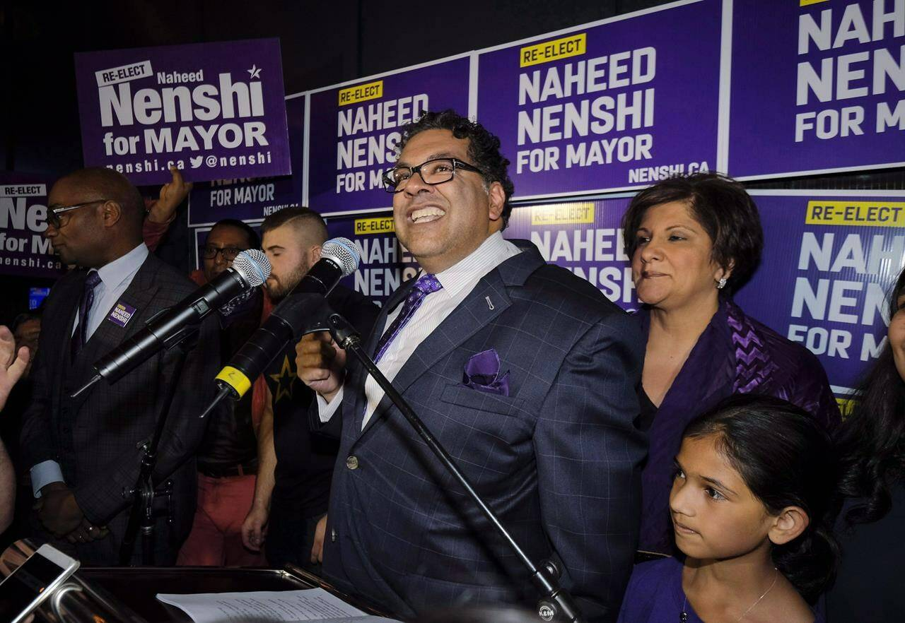 Naheed Nenshi celebrates his victory as Calgary's mayor following municipal elections in Calgary, Alta., early Tuesday, Oct. 17, 2017. Alberta's two major cities are to bring in new mayors during municipal elections today after being led by Naheed Nenshi in Calgary and Don Iveson in Edmonton for multiple terms. THE CANADIAN PRESS/Jeff McIntosh
