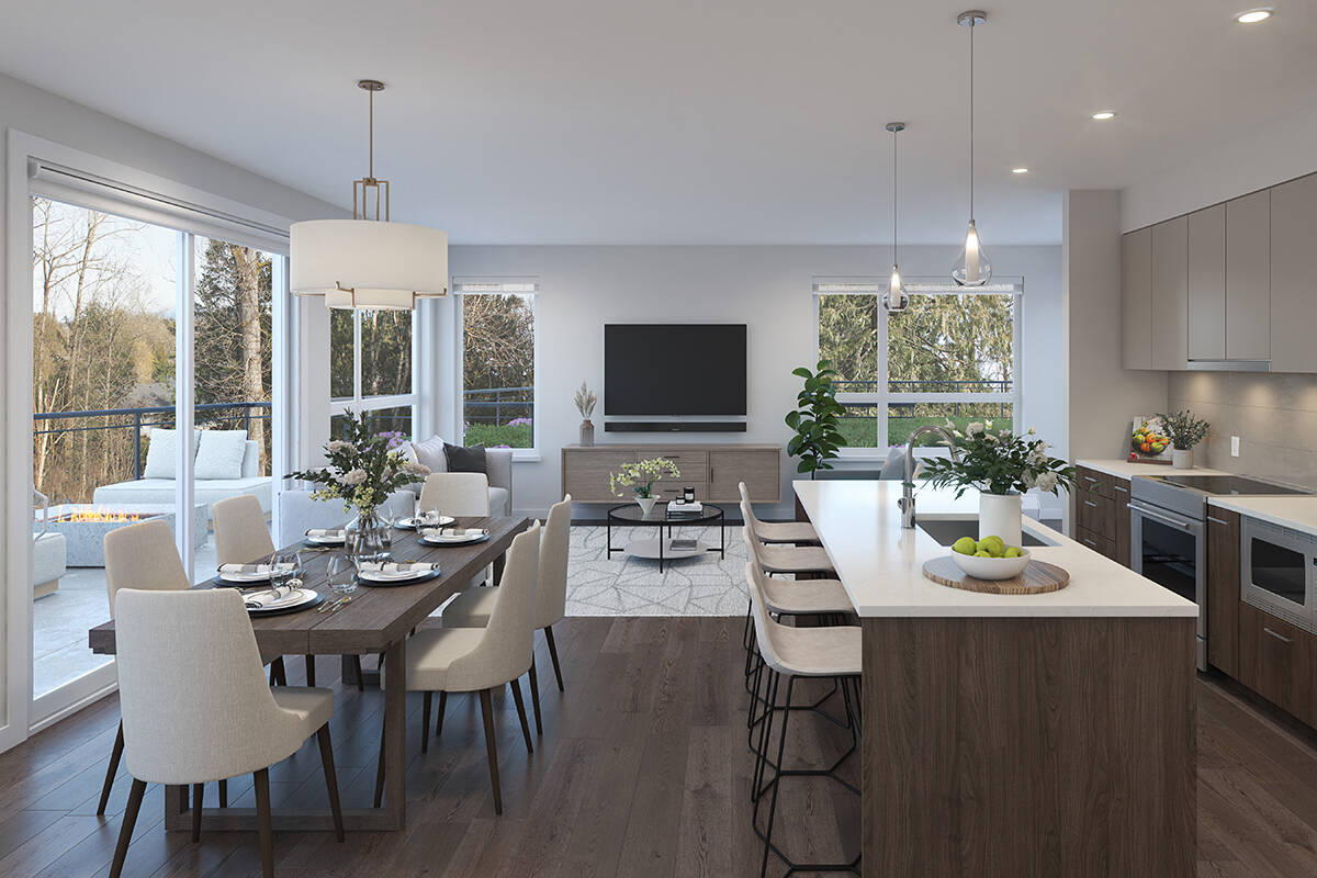 The three-bedroom homes at Natura offer an abundance of natural light, forest views and plenty of living space.