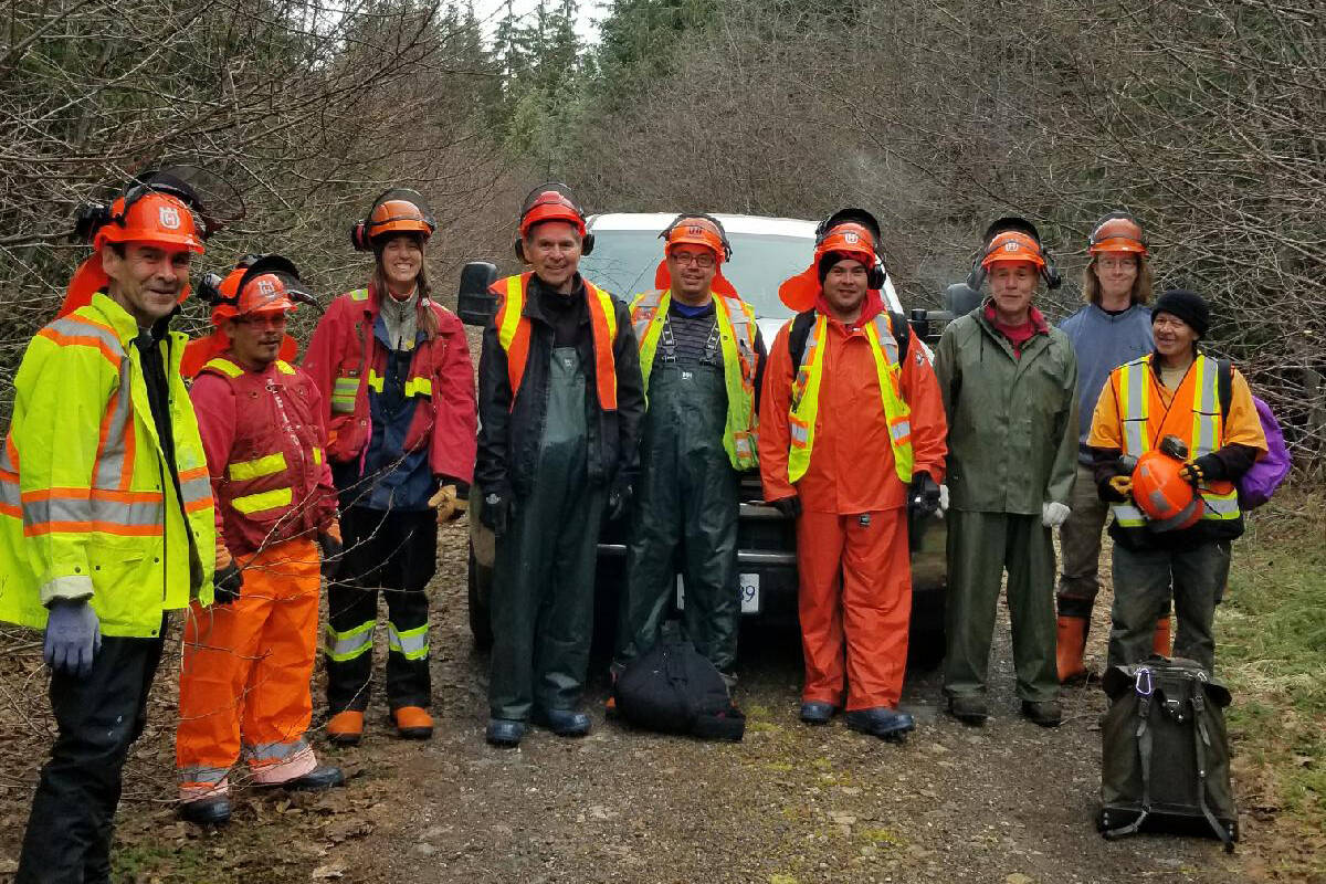 Taan Forest Crew (L to R): Clarence Thompson, Ed Davis, Sophie Simons (Riparian Specialist) Charlie Thompson, Dustin Edgars, Vernon White, Todd Russ, Eri Foster (Riparian Specialist) Ron Hamilton. Taan Forest would like to acknowledge the passing of crew member Charlie Thompson and express our heartfelt sympathy to his family and friends. (Taan Forests photo)