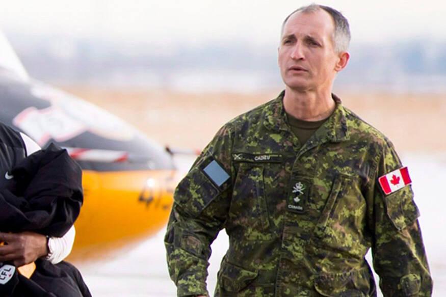 In this file photo, then Brigadier General Trevor Cadieu arrives at Canadian Forces Base Edmonton, Alta. Tuesday, Nov. 20, 2018. (THE CANADIAN PRESS/Jonathan Hayward)