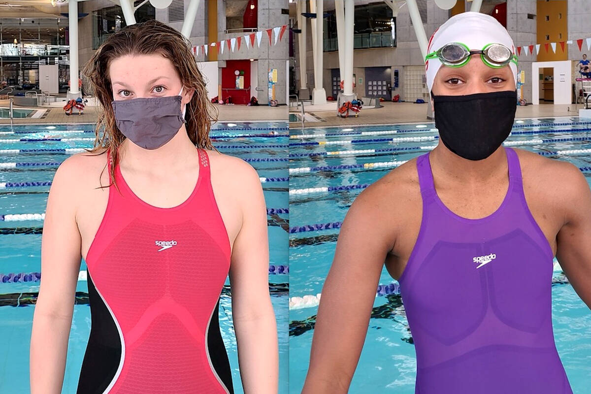 LOSC swimmers Katelyn Schroder (left) and Leilani Fack won multiple events at the Surrey Knights invitational. (file)