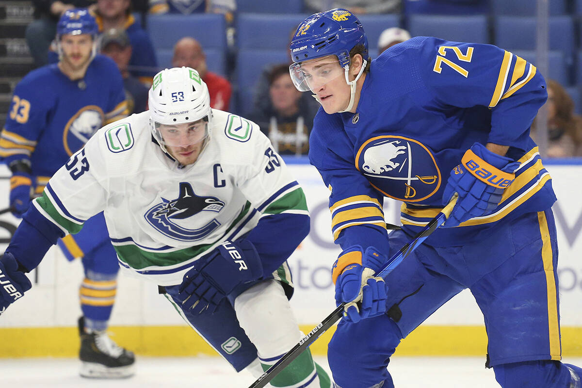 Buffalo Sabres forward Tage Thompson (72) carries the puck past Vancouver Canucks forward Bo Horvat (53) during the second period of an NHL hockey game Tuesday, Oct. 19, 2021, in Buffalo, N.Y. (AP Photo/Jeffrey T. Barnes)