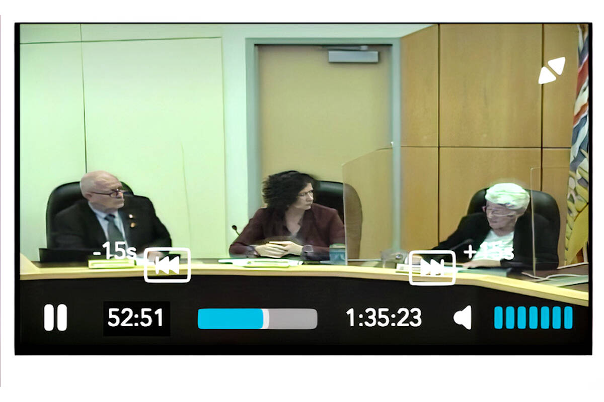 Video image of Langley City Council session on Oct. 18 that opted to resume virtual meetings. (Langley City)
