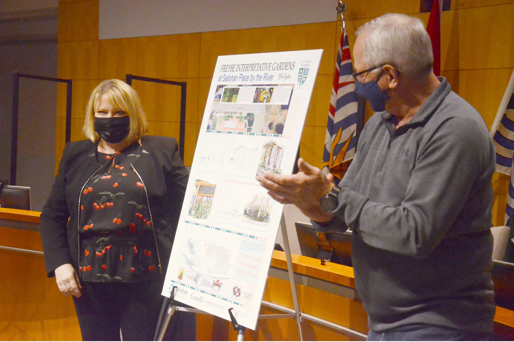 Angela Doro, president of Freybe, and Township Mayor Jack Froese, announced Freybe's $70,000 donation towards a garden at the new Salishan Place by the River. (Matthew Claxton/Langley Advance Times)