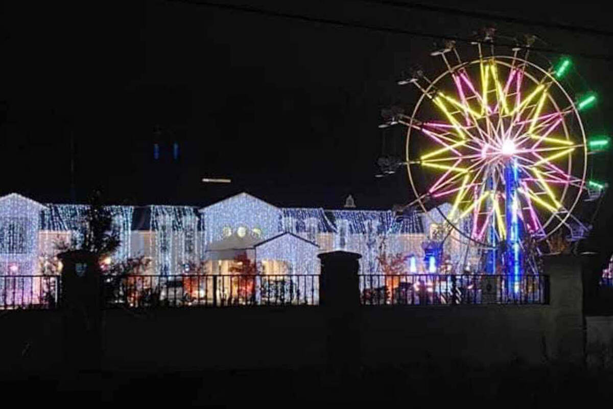 Surrey wedding, complete with full-sized ferris wheel, kept a lot of residents up last night. (Facebook image)