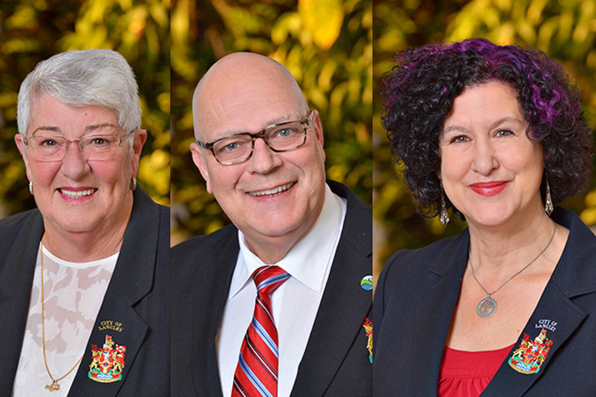 City councillors Gayle Martin, Rudy Storteboom and Rosemary Wallace. Council voted to add Langley Food Bank and the Penny Pincher Thrift Shop and two other nonprofit groups to a list of tax-exempt properties on Monday, Oct. 18. (files)