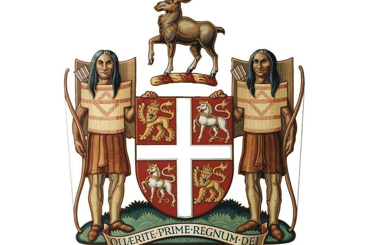 """The Newfoundland and Labrador coat of arms is shown in an undated handout image. The Newfoundland and Labrador government is moving ahead with plans to drop the word """"savages"""" from the official description of the Indigenous people depicted on the province's 400-year-old coat of arms. THE CANADIAN PRESS/HO - Government of Newfoundland and Labrador"""