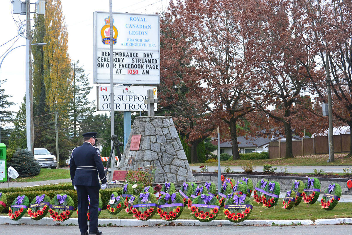 Aldergrove legion branch #265 held a live-streamed ceremony for the first time, in 2020 (Aldergrove Star Files)