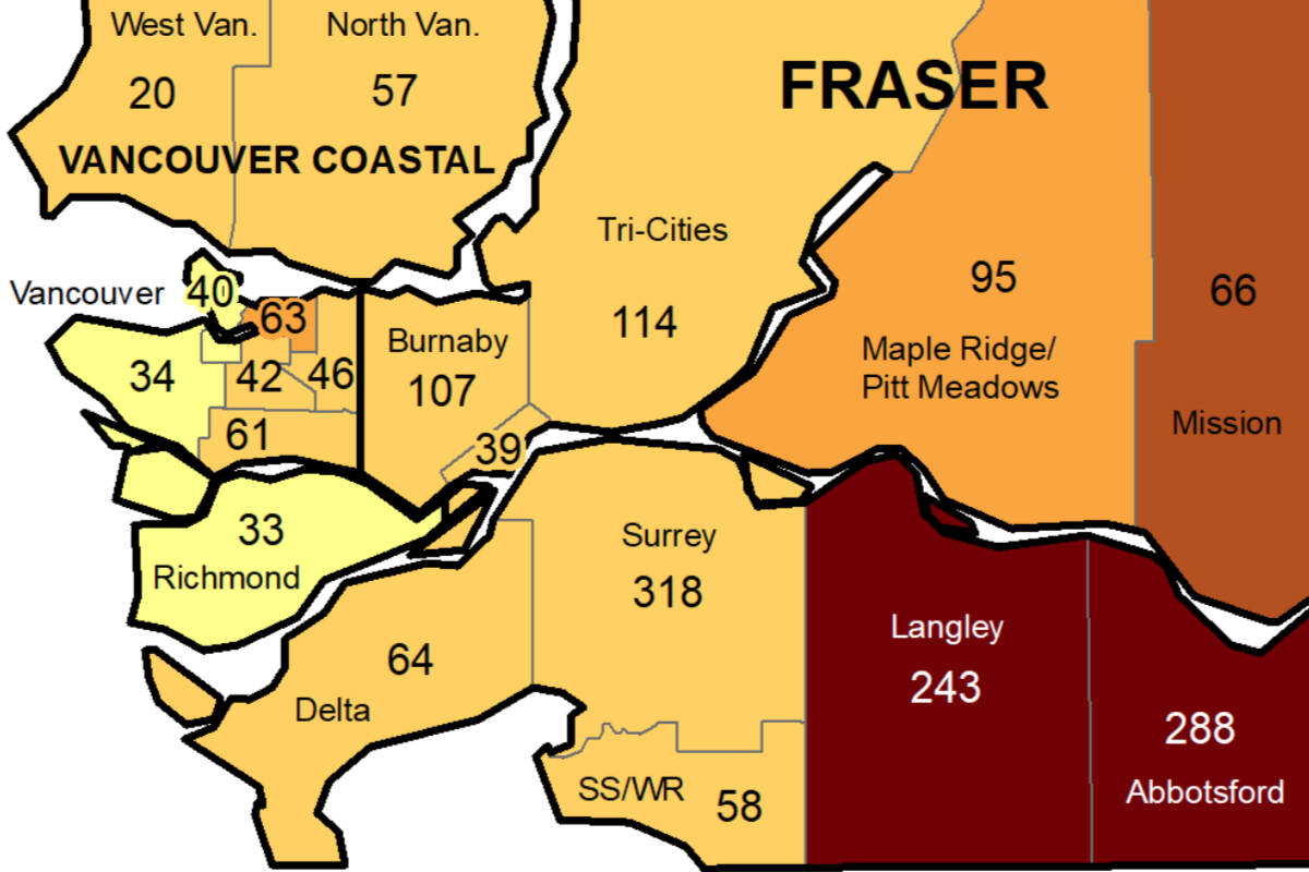 Langley still has among the highest COVID-19 case rates in the Lower Mainland and Fraser Valley area. (BCCDC)