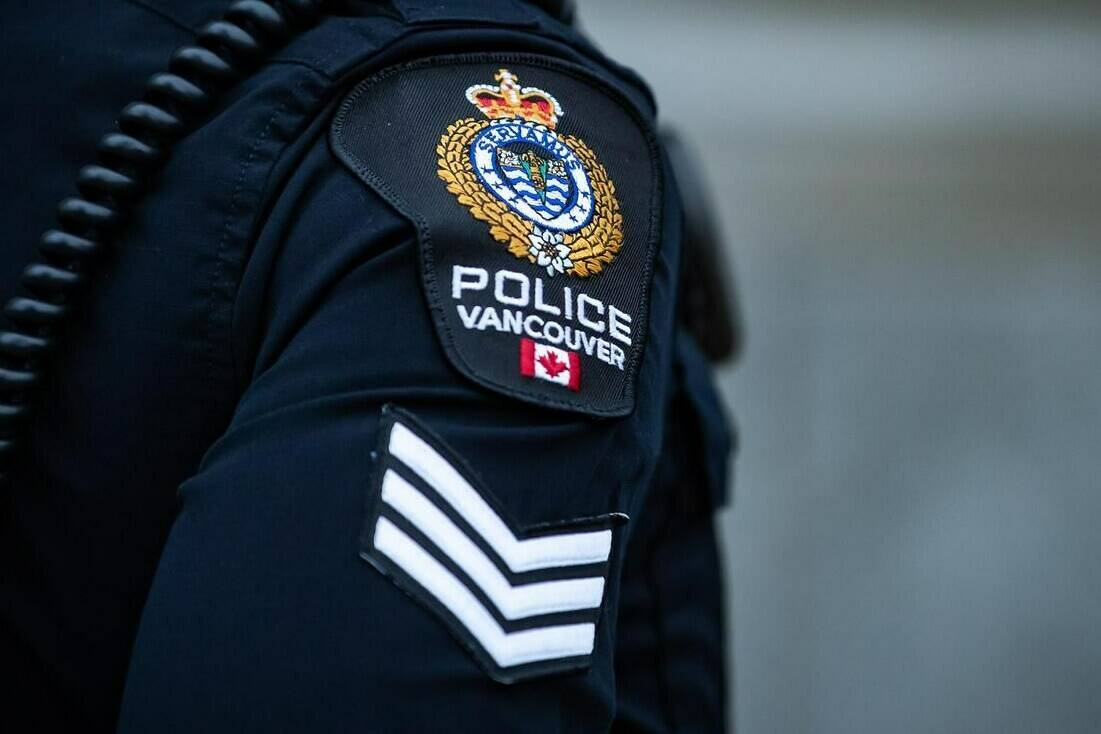 A Vancouver Police Department patch is seen on an officer's uniform in the Downtown Eastside of Vancouver, on Saturday, January 9, 2021. The Vancouver Police Board will hear a report Thursday recommending the force change its handcuffing policy after the arrest of an Indigenous man and his granddaughter at a bank in 2019. THE CANADIAN PRESS/Darryl Dyck
