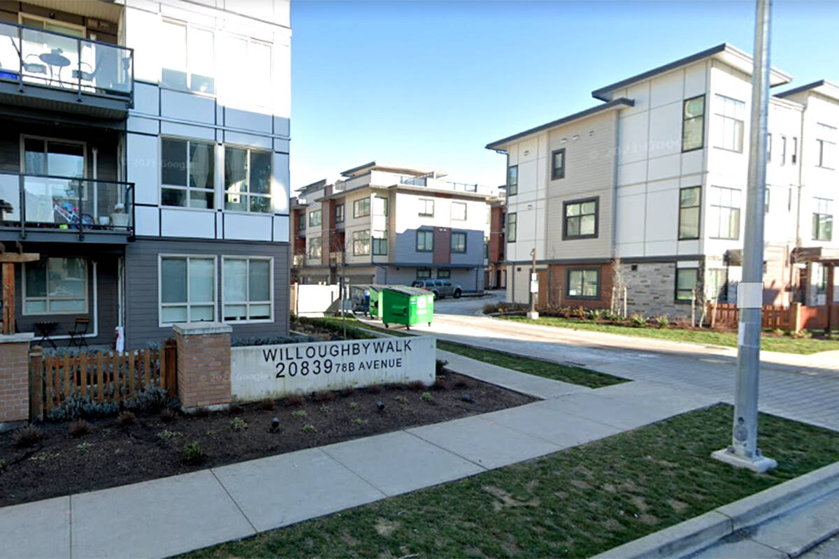 Undated Google photo of Willoughby Walk apartments in Langley. (Google Street View)