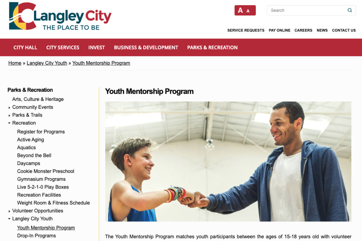Langley City is looking for youth and adult mentors to be part of a new program being rolled out. (Screengrab)