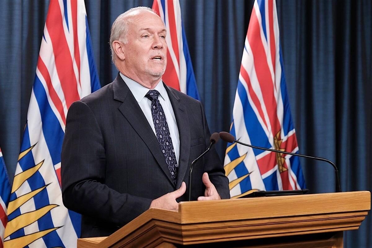 Premier John Horgan speaks at a briefing in the B.C. legislature. (B.C. government photo)
